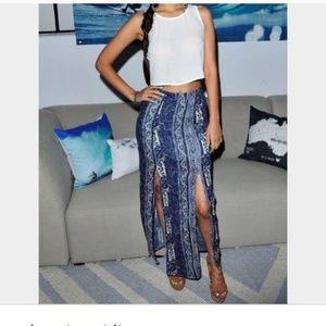 AEO Blue & White Print Maxi Skirt